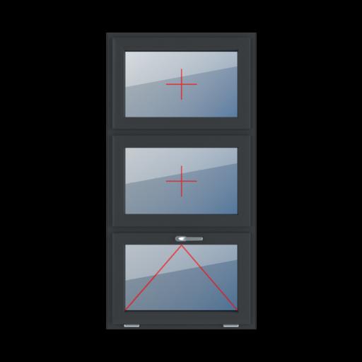 Typy okien 3-skrzydłowe podział symetryczny poziomy 33-33-33 Szklenie stałe w skrzydle, uchylne z klamką u góry