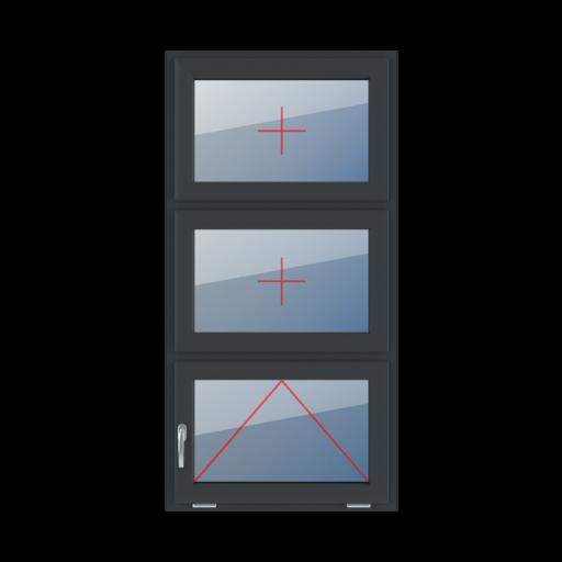 Typy okien 3-skrzydłowe podział symetryczny poziomy 33-33-33 Szklenie stałe w skrzydle, uchylne z klamką z lewej strony