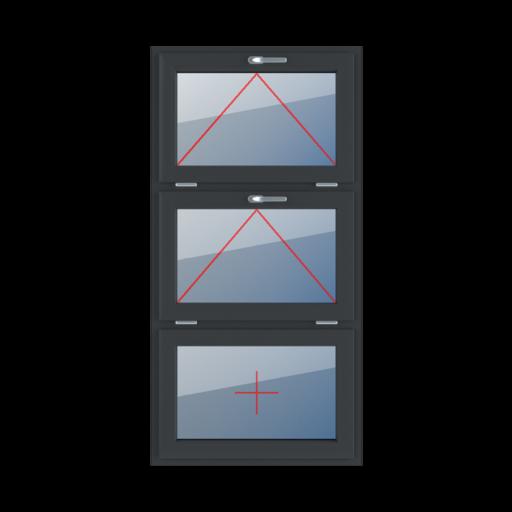 Typy okien 3-skrzydłowe podział symetryczny poziomy 33-33-33 Uchylne z klamką u góry, uchylne z klamką u góry, szklenie stałe w skrzydle