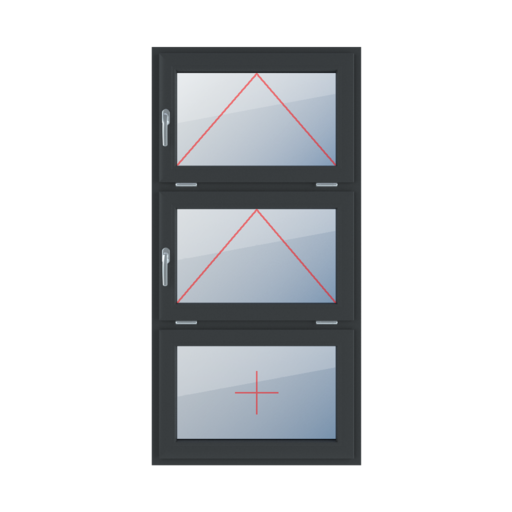 Typy okien 3-skrzydłowe podział symetryczny poziomy 33-33-33 Uchylne z klamką z lewej strony, uchylne z klamką z lewej strony, szklenie stałe w skrzydle