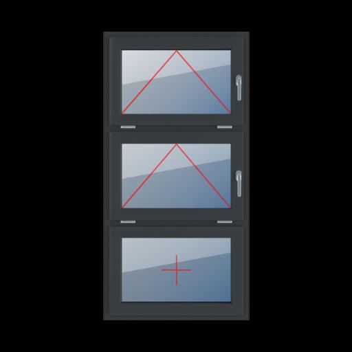 Typy okien 3-skrzydłowe podział symetryczny poziomy 33-33-33 Uchylne z klamką z prawej strony, uchylne z klamką z prawej strony, szklenie stałe w skrzydle