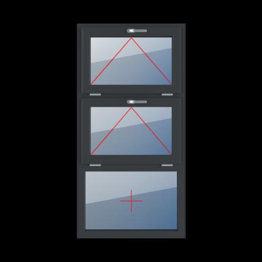 Typy okien 3-skrzydłowe podział symetryczny poziomy 33-33-33 Uchylne z klamką u góry, uchylne z klamką u góry, szklenie stałe w ramie