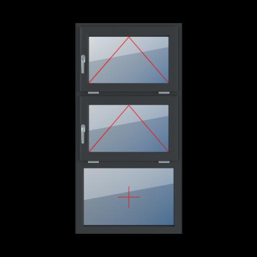 Typy okien 3-skrzydłowe podział symetryczny poziomy 33-33-33 Uchylne z klamką z lewej strony, uchylne z klamką z lewej strony, szklenie stałe w ramie