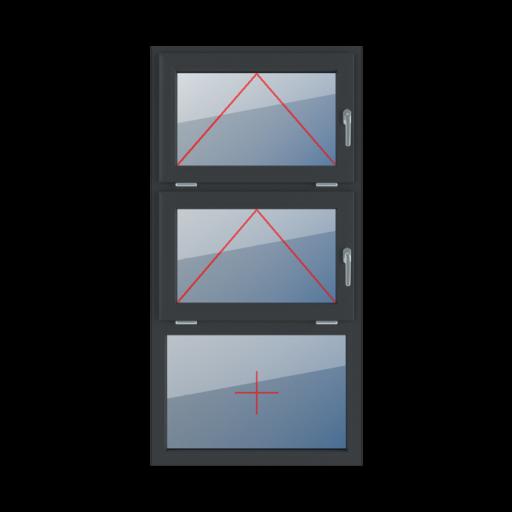 Typy okien 3-skrzydłowe podział symetryczny poziomy 33-33-33 Uchylne z klamką z prawej strony, uchylne z klamką z prawej strony, szklenie stałe w ramie