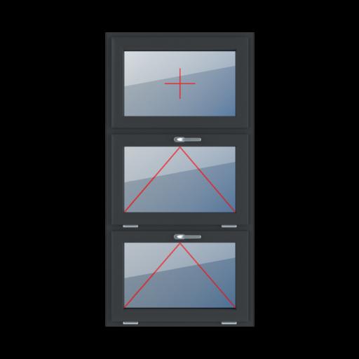 Typy okien 3-skrzydłowe podział symetryczny poziomy 33-33-33 Szklenie stałe w skrzydle, uchylne z klamką u góry, uchylne z klamką u góry