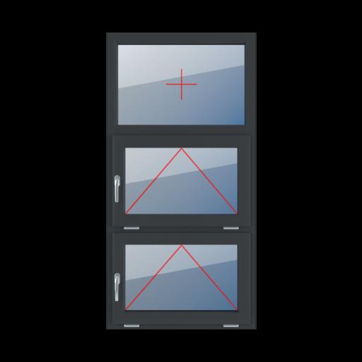 Typy okien 3-skrzydłowe podział symetryczny poziomy 33-33-33 Szklenie stałe w ramie, uchylne z klamką z lewej strony, uchylne z klamką z lewej strony