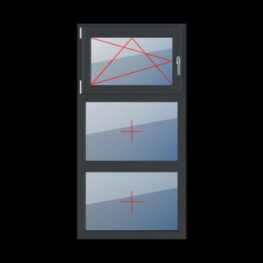 Typy okien 3-skrzydłowe podział symetryczny poziomy 33-33-33 Rozwierno-uchylne lewe, szklenie stałe w ramie