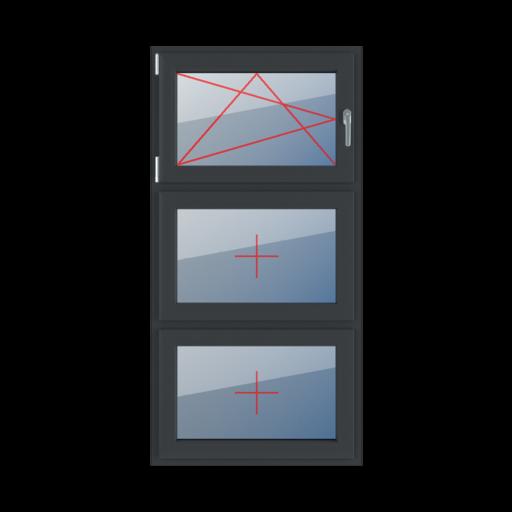 Typy okien 3-skrzydłowe podział symetryczny pionowy 33-33-33 rozwierno-uchylne lewe szklenie stałe w skrzydle