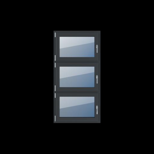Typy okien 3-skrzydłowe podział symetryczny pionowy 33-33-33