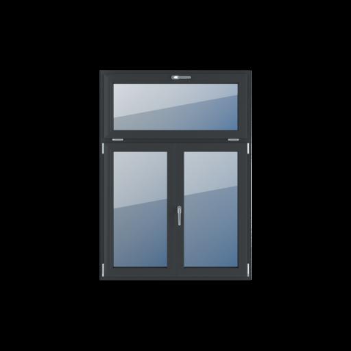 Typy okien 3-skrzydłowe Podział niesymetryczny pionowy 30-70 z ruchomym słupkiem