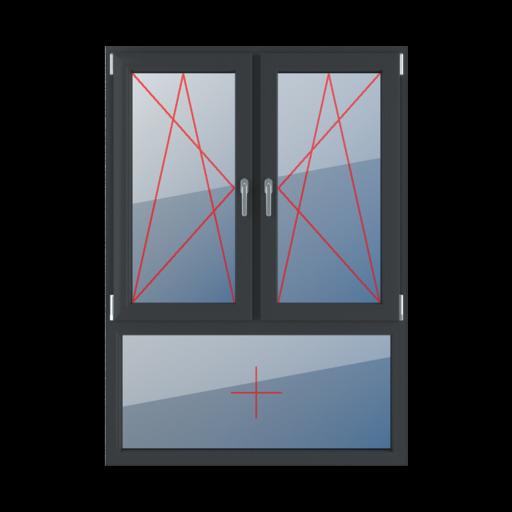 Typy okien 3-skrzydłowe podział niesymetryczny pionowy 70-30 Rozwierno-uchylne lewe, rozwierno-uchylne prawe, szklenie stałe w ramie