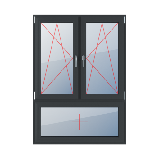 Typy okien 3-skrzydłowe podział niesymetryczny pionowy 70-30 Rozwierno-uchylne lewe, rozwierno-uchylne prawe, szklenie stałe w skrzydle