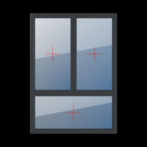 Typy okien 3-skrzydłowe podział niesymetryczny pionowy 70-30 Szklenie stałe w ramie