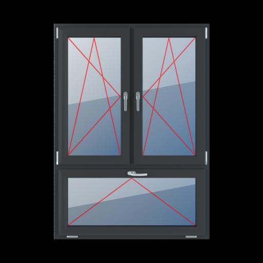 Typy okien 3-skrzydłowe podział niesymetryczny pionowy 70-30 Rozwierno-uchylne lewe, rozwierno-uchylne prawe, uchylne z klamką u góry