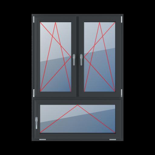 Typy okien 3-skrzydłowe podział niesymetryczny pionowy 70-30 Rozwierno-uchylne lewe, rozwierno-uchylne prawe, uchylne z klamką z lewej strony
