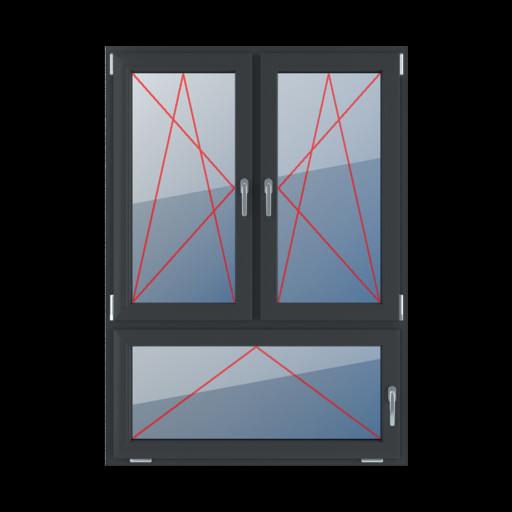Typy okien 3-skrzydłowe podział niesymetryczny pionowy 70-30 Rozwierno-uchylne lewe, rozwierno-uchylne prawe, uchylne z klamką z prawej strony