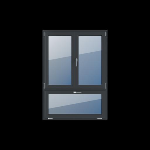 Typy okien 3-skrzydłowe Podział niesymetryczny pionowy 70-30 z ruchomym słupkiem