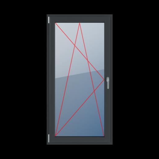 Typy okien balkonowe 1-skrzydłowe Rozwierno-uchylne lewe