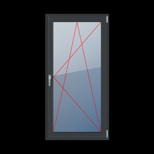 Typy okien balkonowe 1-skrzydłowe Rozwierno-uchylne prawe