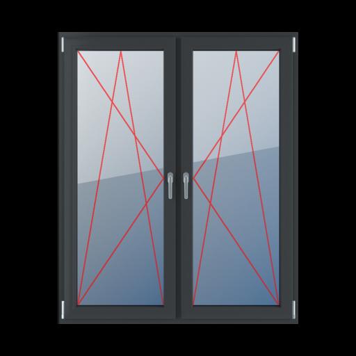Typy okien balkonowe 2-skrzydłowe Rozwierno-uchylne lewe, rozwierno-uchylne prawe