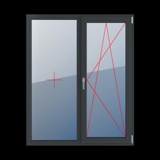 Typy okien balkonowe 2-skrzydłowe Szklenie stałe w ramie, rozwierno-uchylne prawe