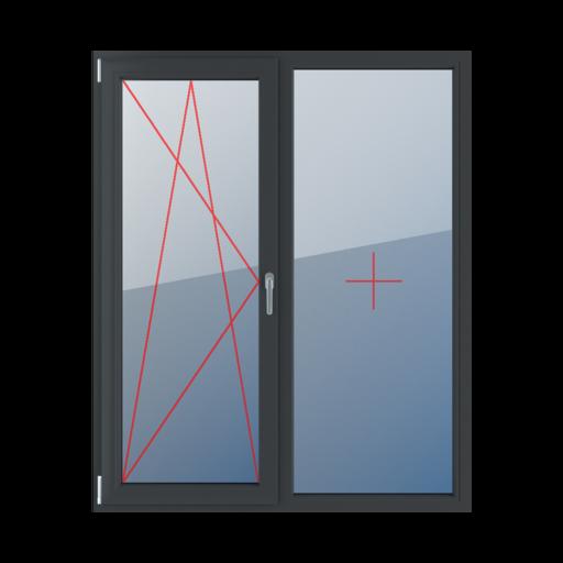Typy okien balkonowe 2-skrzydłowe rozwierno-uchylne lewe szklenie stałe w ramie
