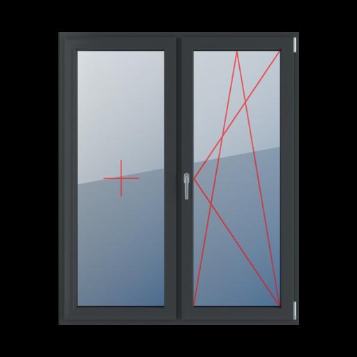 Typy okien balkonowe 2-skrzydłowe rozwierno-uchylne lewe szklenie stałe w skrzydle