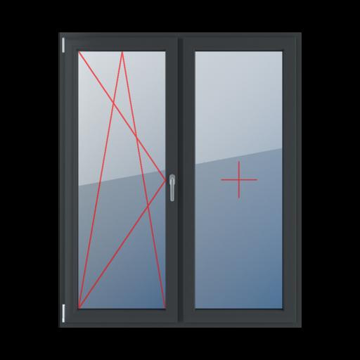 Typy okien balkonowe 2-skrzydłowe Rozwierno-uchylne lewe, szklenie stałe w skrzydle