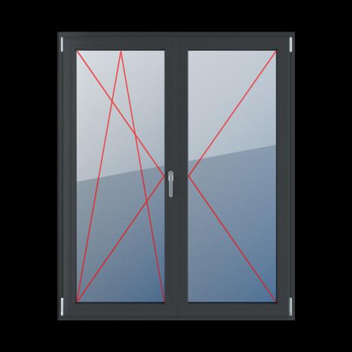 Typy okien balkonowe 2-skrzydłowe z ruchomym słupkiem Rozwierno-uchylne lewe, słupek ruchomy, rozwierne prawe